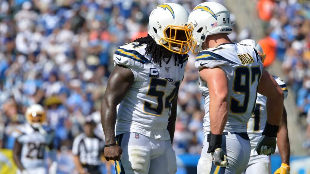 Los Angeles Chargers defensive end Joey Bosa and defensive end Melvin Ingram react during the third quarter against the Indianapolis Colts | Week 3 IDP Report