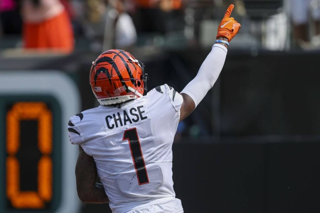Ja'Marr Chase celebrates after scoring a touchdown.